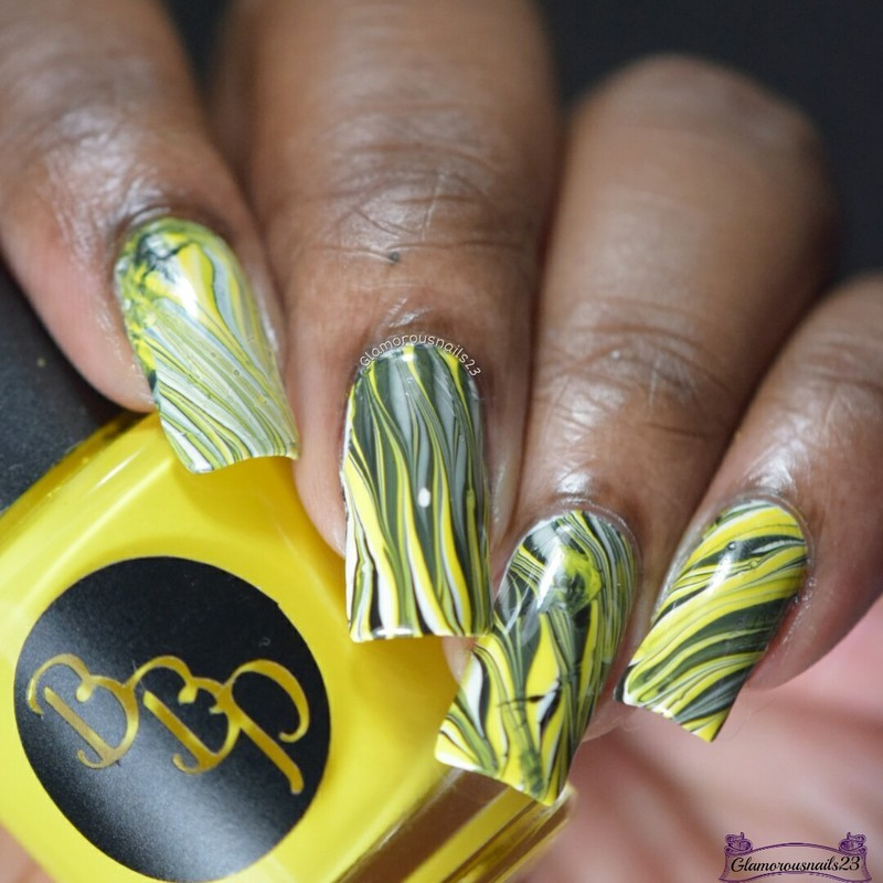 Watermarble Wednesdays: Yellow, Black & White nail art by glamorousnails23