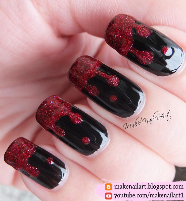 Halloween Dripping Nail Art Design nail art by Make Nail Art