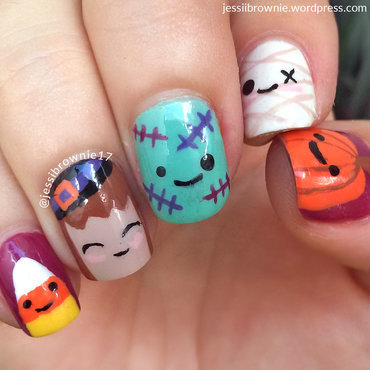 Kawaii Halloween Nail Art nail art by Jessi Brownie (Jessi)