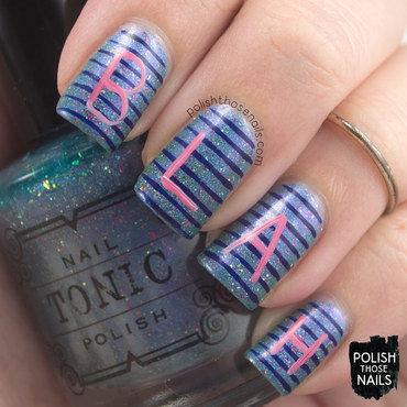 Blue holo flakie stripes blah typography nail art 4 thumb370f
