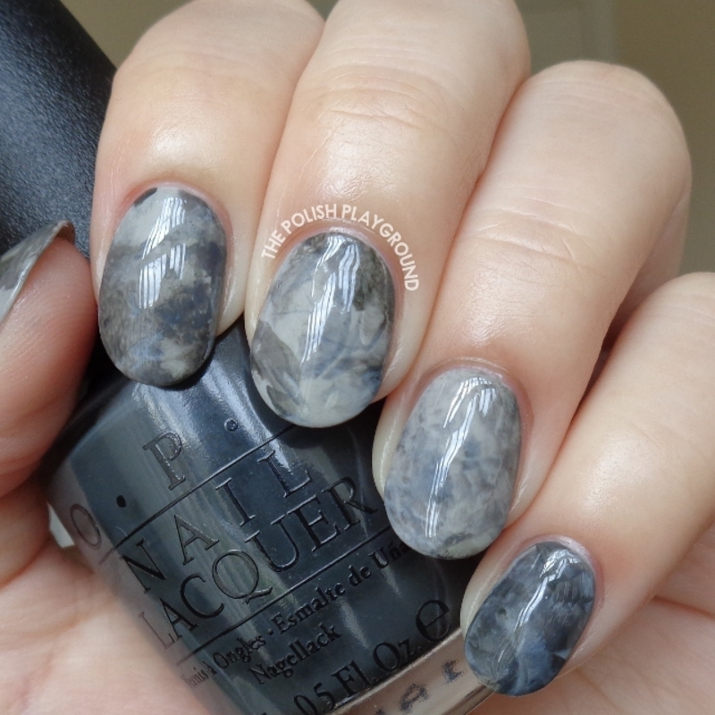Grey Stamping Marble Nail Art nail art by Lisa N