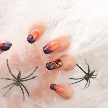 Halloween spider nails nail art by Minhie
