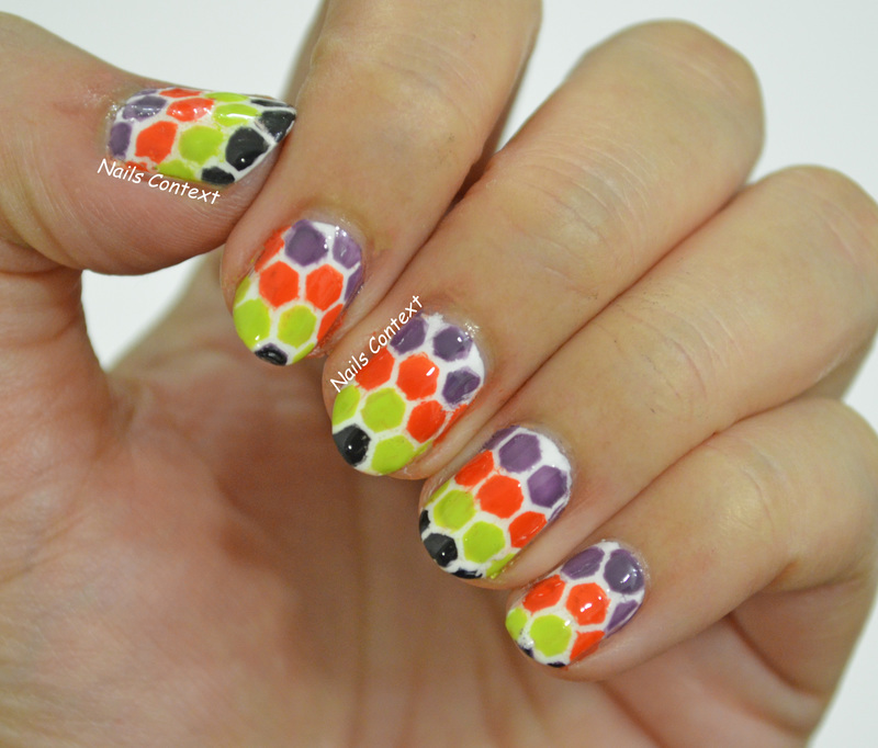 Halloween Honeycomb Nails  nail art by NailsContext