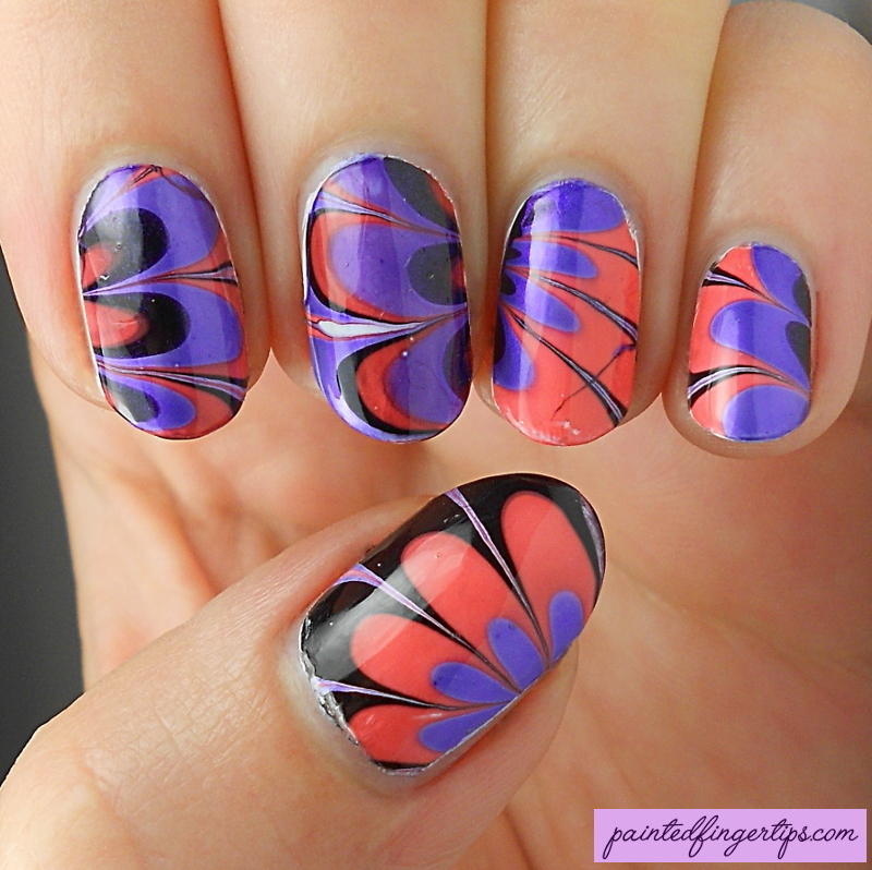 Halloween Water Marble nail art by Kerry_Fingertips