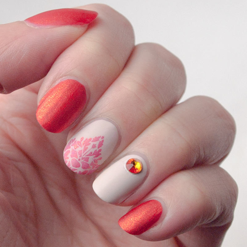 Orange, crystals and matte nail art by What's on my nails today?
