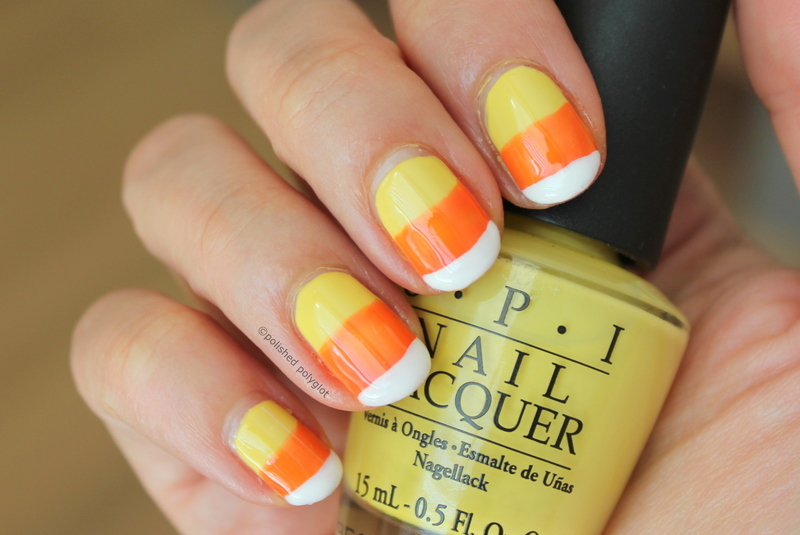 Murky candy corn nails nail art by Polished Polyglot