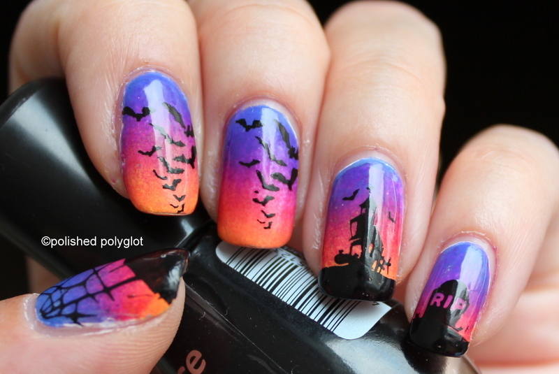 Halloween graveyard scenery nails nail art by Polished Polyglot