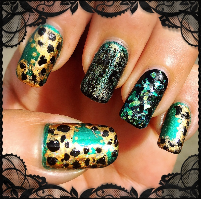 jungle mix nail art by Idreaminpolish