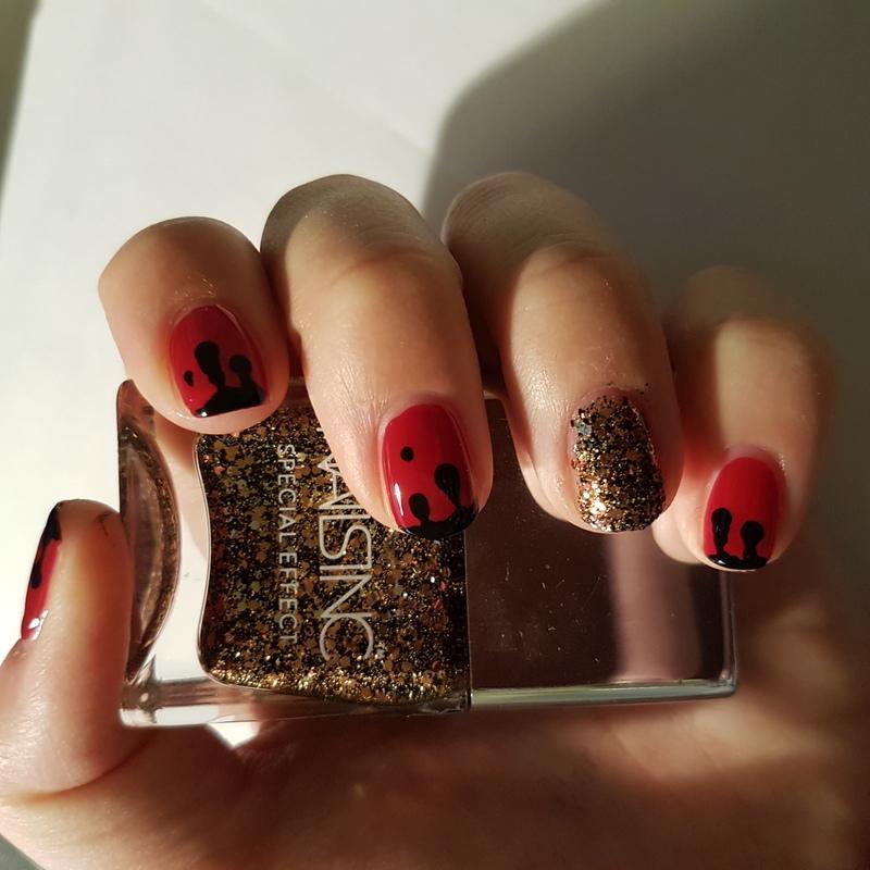 Black blood nail art by TheSailorWoman