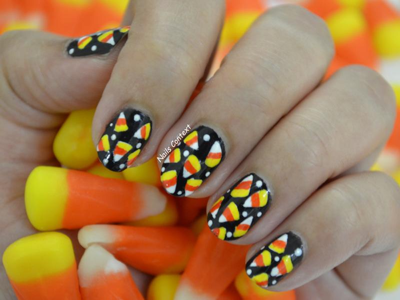 Candy Corn Nails  nail art by NailsContext