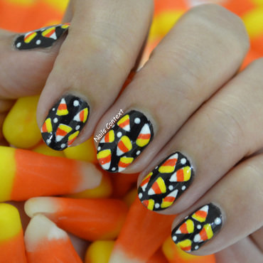 Candy Corn Nails  nail art by NailsContext