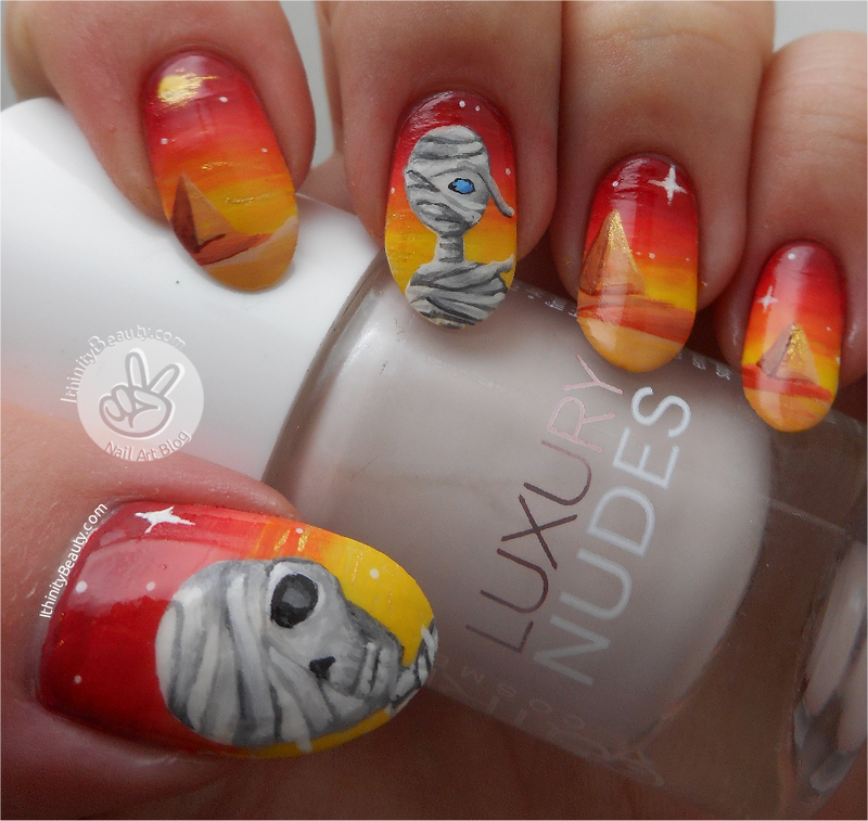 Freehand Mummy Nail Art! nail art by Ithfifi Williams