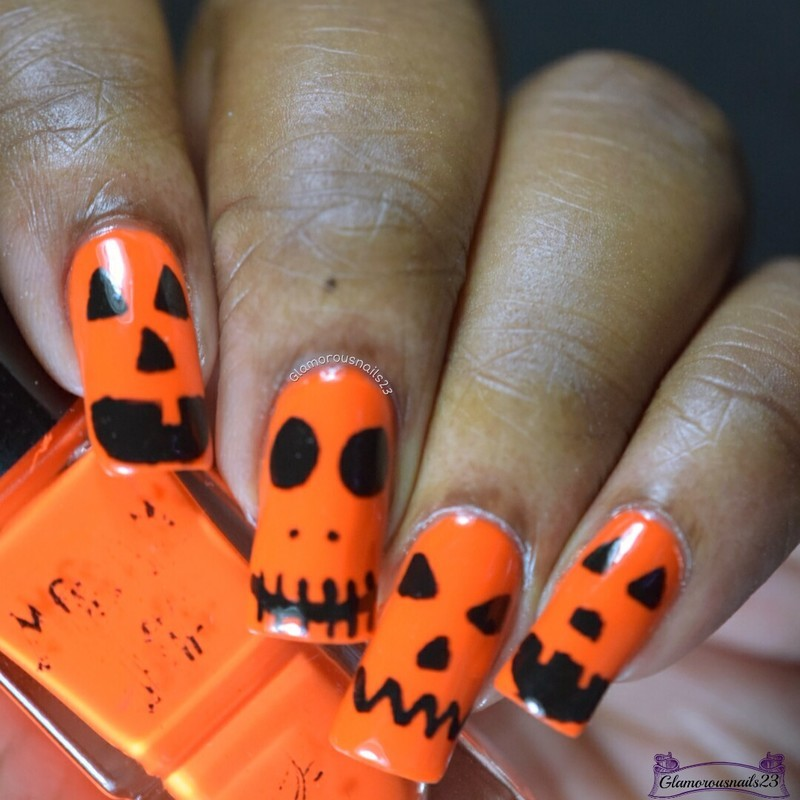WNAC October 2016: Jack O'Lantern  nail art by glamorousnails23