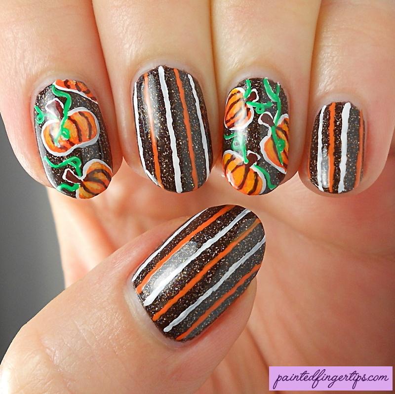 Freehand pumpkins nail art by Kerry_Fingertips