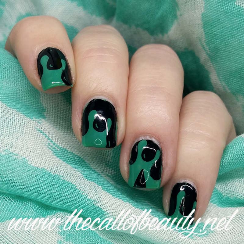 Green Slime nail art by The Call of Beauty