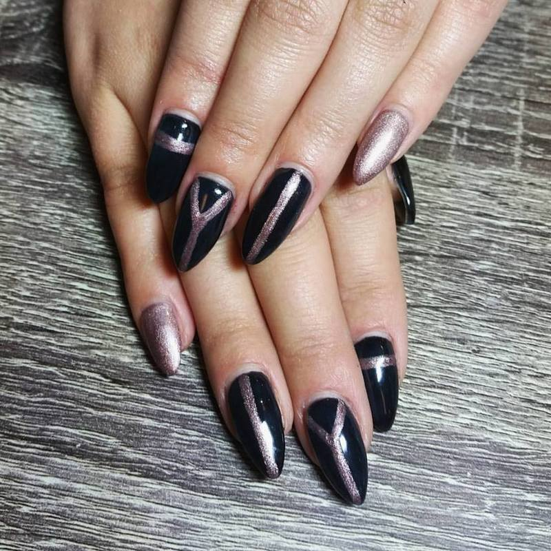 Black with rose gold stripe art  nail art by Ailesh Abrams