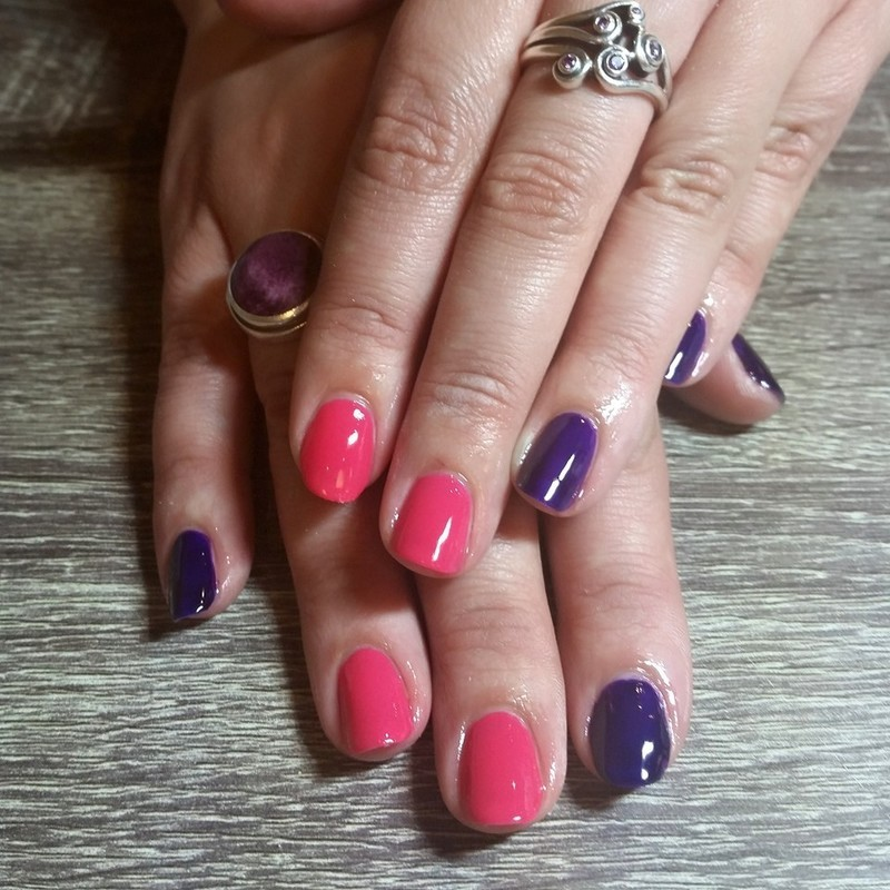 Bright Coral and Purple  nail art by Ailesh Abrams