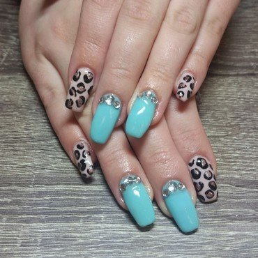 Tiffany Blue & Rose Gold Leopard Print  nail art by Ailesh Abrams