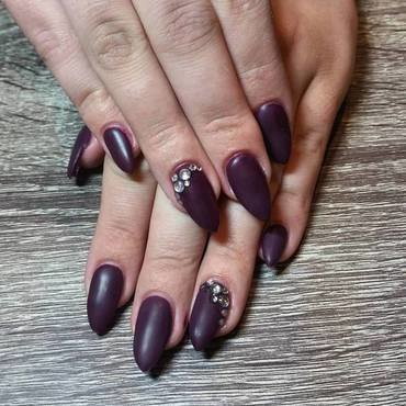 Matte Purple Nails  nail art by Ailesh Abrams