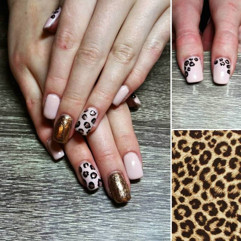 Rose Gold Leopard Print  nail art by Ailesh Abrams