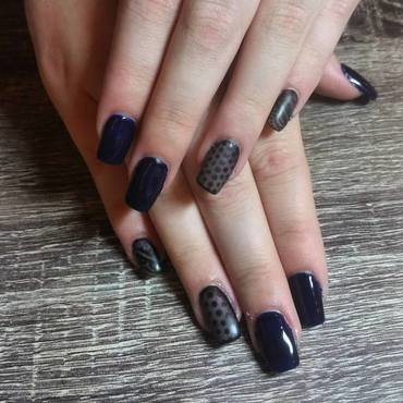 Polka Dot & Lace Nylon Nails  nail art by Ailesh Abrams