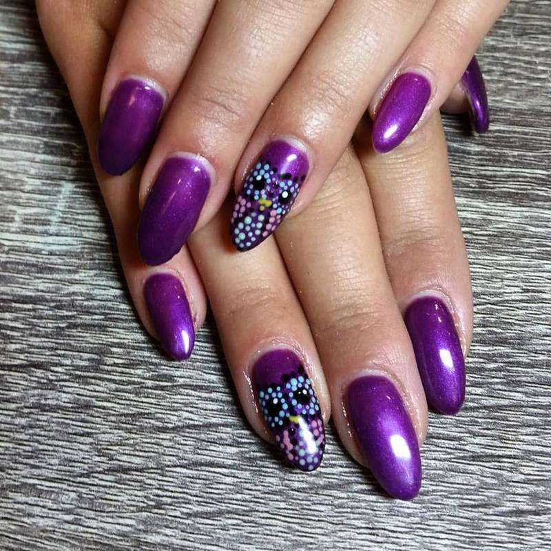 Spotted Owls  nail art by Ailesh Abrams