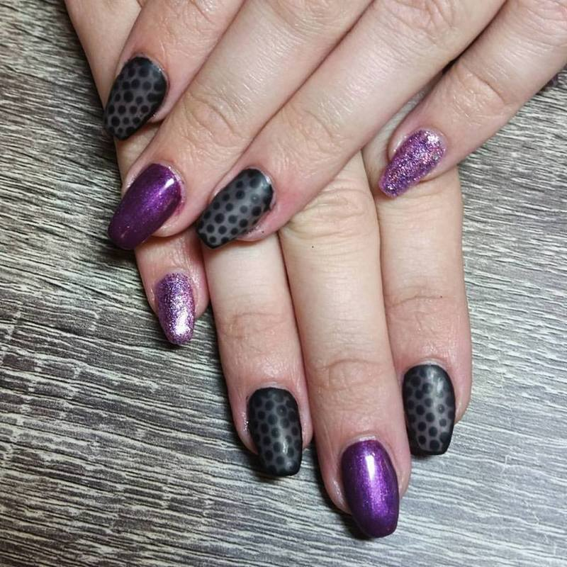 Purple and Polka Dots  nail art by Ailesh Abrams
