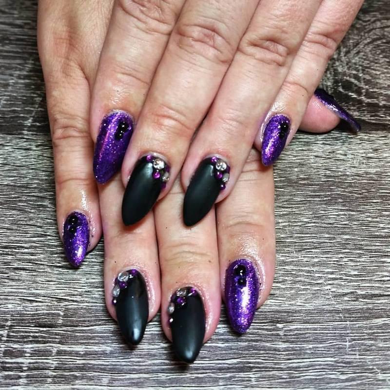 Purple, Black, & Glam  nail art by Ailesh Abrams