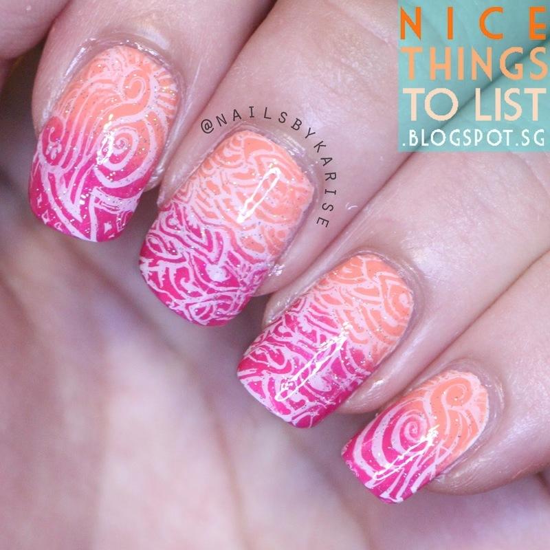 Pink Peachy Gradient Stamping  nail art by Karise Tan