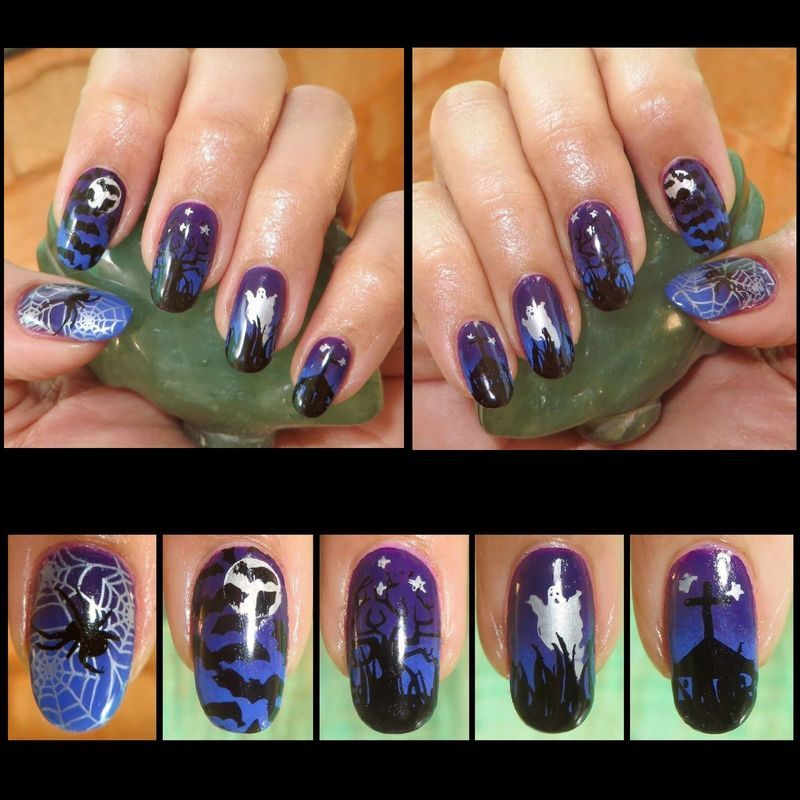 Haunted nail art by DeadCellCanvases