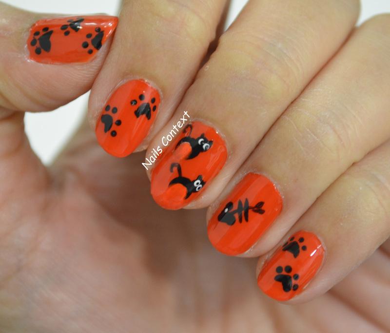 Halloween Cat Nails  nail art by NailsContext