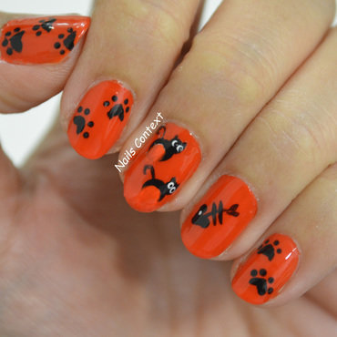 Halloween Cat Nails  nail art by NailsContext