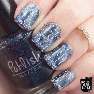 Blue shimmer smoosh rain nail art 4 thumb370f
