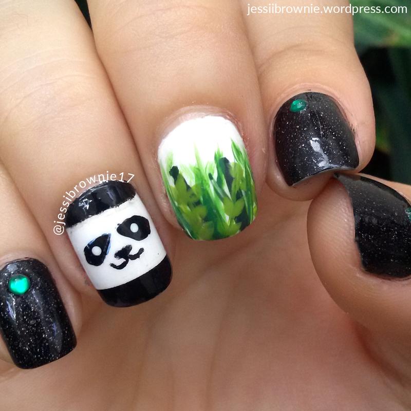 Panda + Bambu nail art by Jessi Brownie (Jessi)
