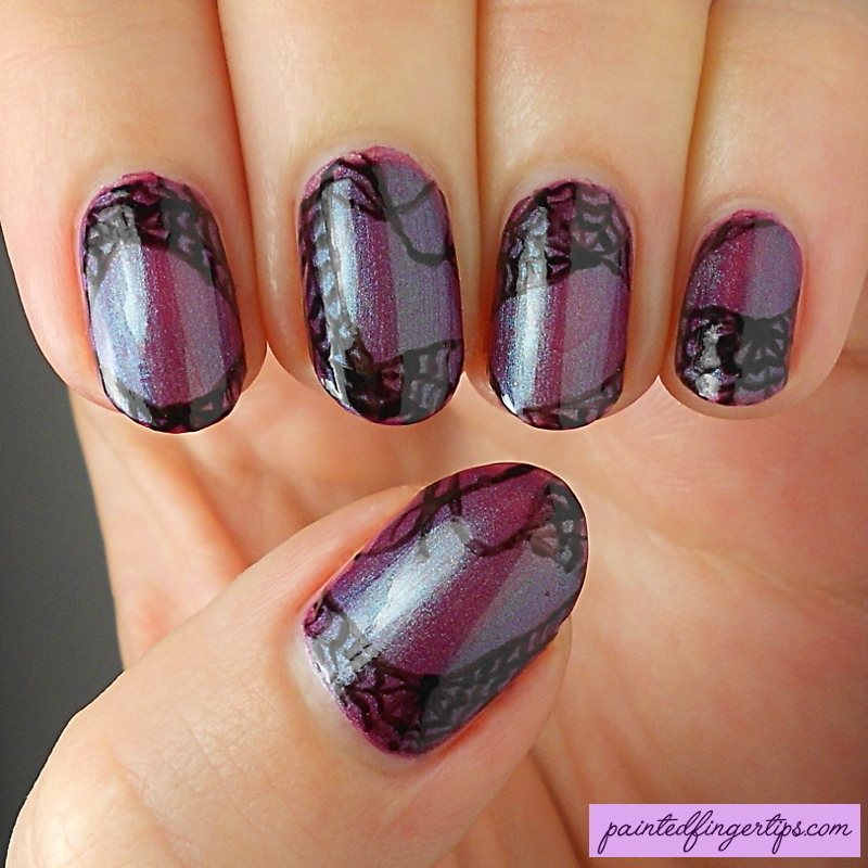 Freehand spiderwebs nail art by Kerry_Fingertips