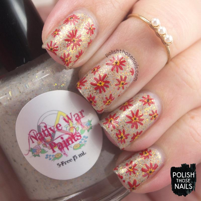 Flakie Autumn Florals nail art by Marisa  Cavanaugh