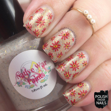 Flakie Autumn Florals nail art by Marisa  Cavanaugh