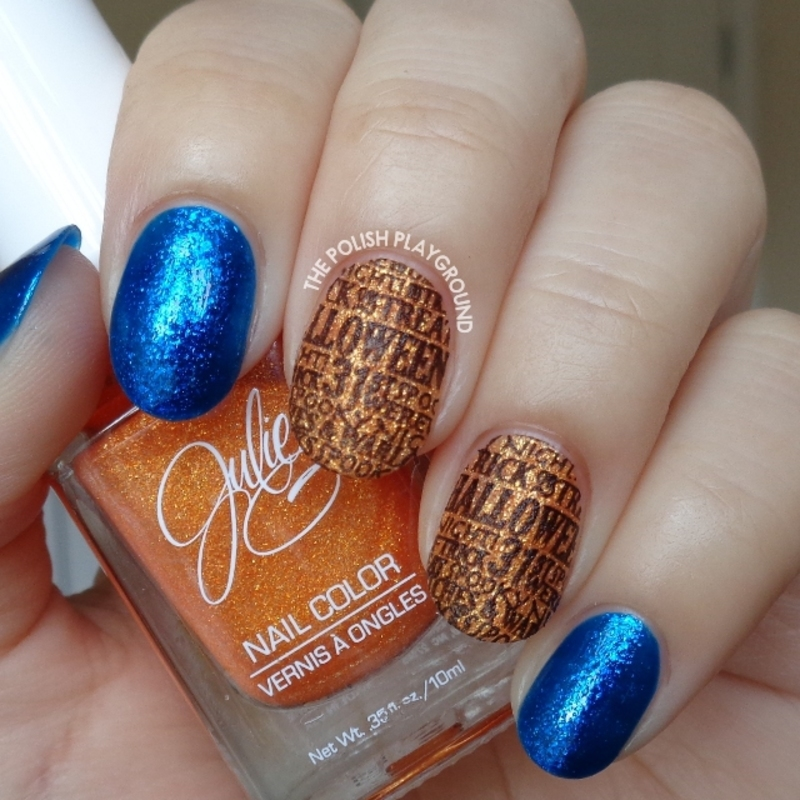 Orange Texture with Black Halloween Words Stamping nail art by Lisa N