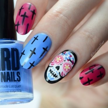 Sugar Skulls  nail art by Furious Filer