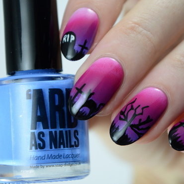 Creepy Graveyard  nail art by Furious Filer