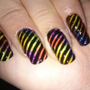Striped happiness  nail art by Sabina Salomonsson
