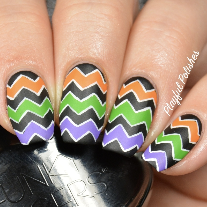 Halloween Chevron nail art by Playful Polishes