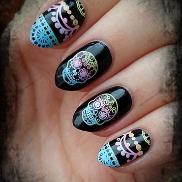 Sugar Skull nail art by Mgielka M