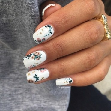 Fall floral  nail art by Massiel Pena