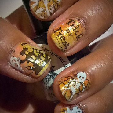Halloween Stamping over FanbrushFriday  nail art by Avesur Europa
