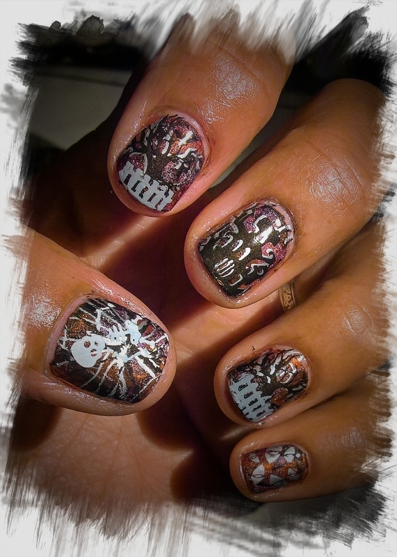 Halloween Stamping over SmooshyNailSunday nail art by Avesur Europa