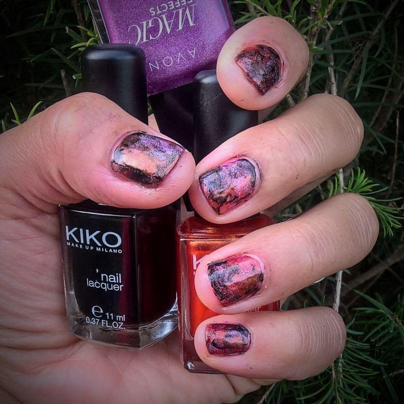 Smooshy Orange, Holo Rose and Black nail art by Avesur Europa