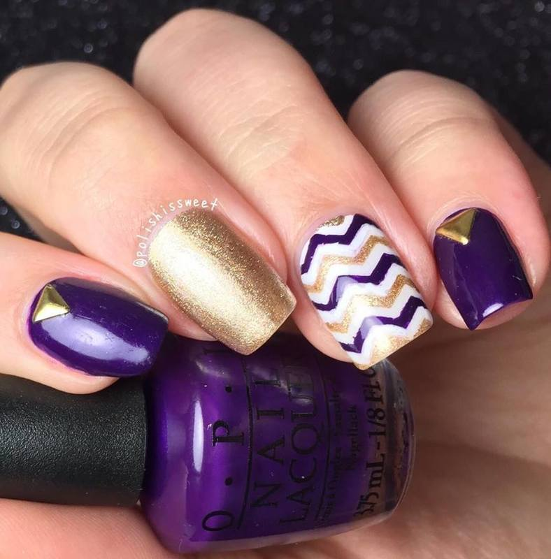 Fall Inspired Chevrons nail art by PolishIsSweet