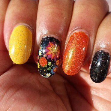 Pretty Fall Colors nail art by Jackie Bodick