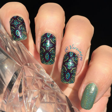 Green, Blue And Purple Leadlight nail art by Vernimage